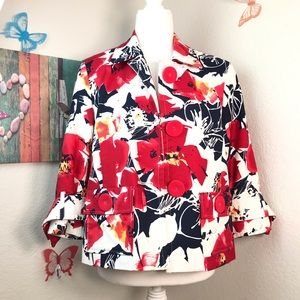 Coldwater creek jacket size 8 with Big red buttons